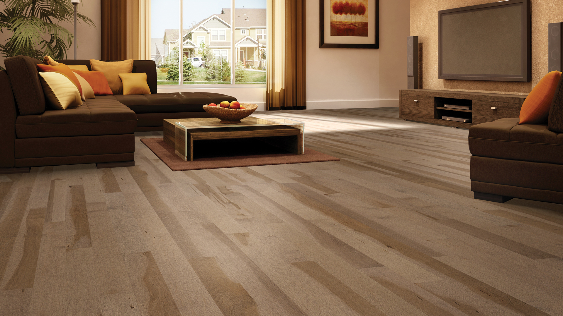 Hard maple antique bronze | Dubeau hardwood floors | Living room decor