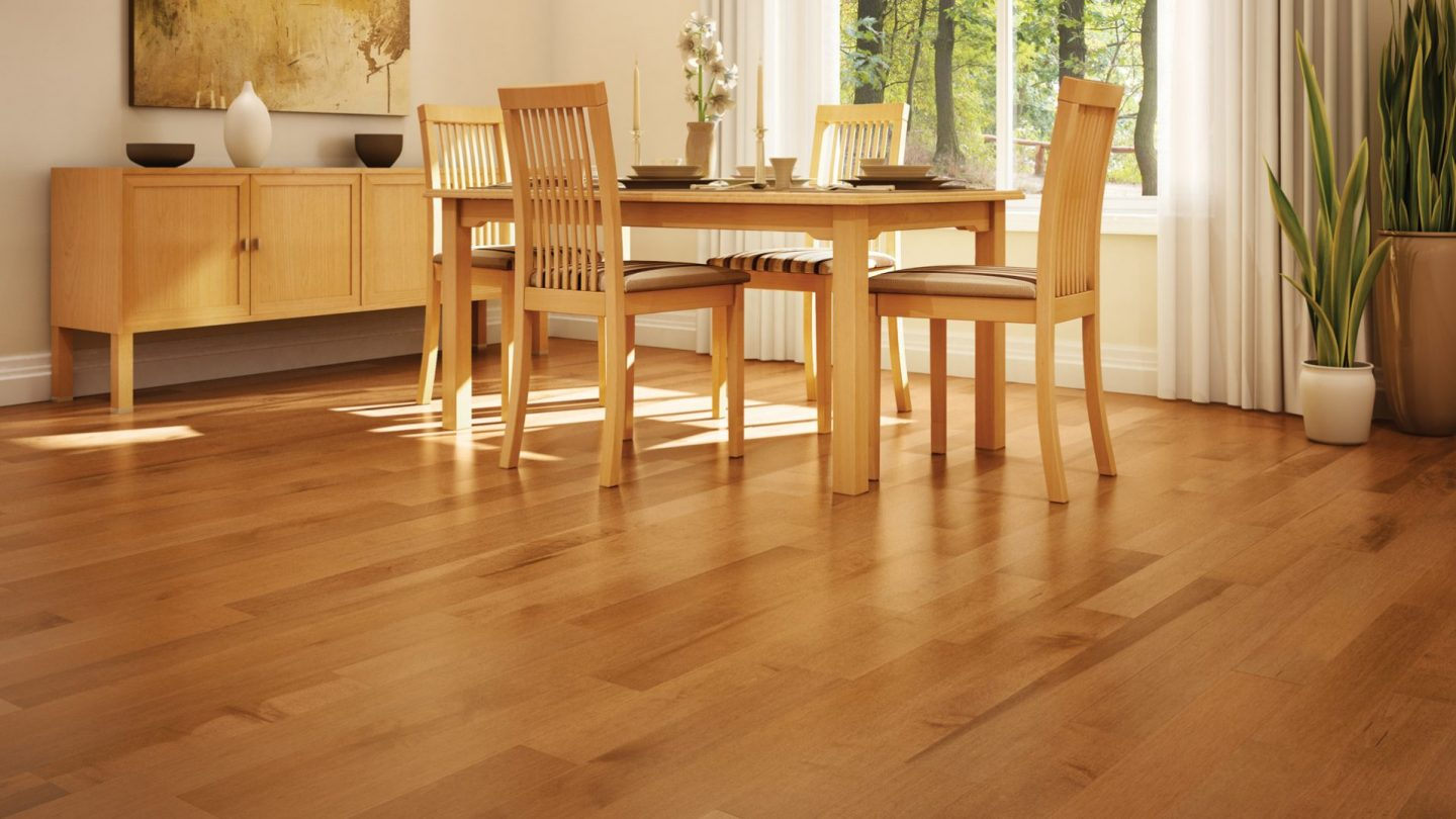 Hard maple apricot | Dubeau hardwood floors | Dining room decor