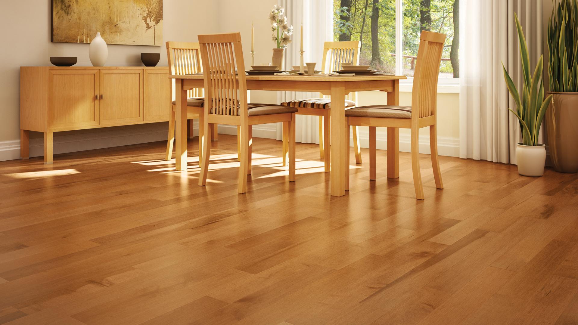 Hard maple apricot | Dubeau hardwood floors | Dining room decor