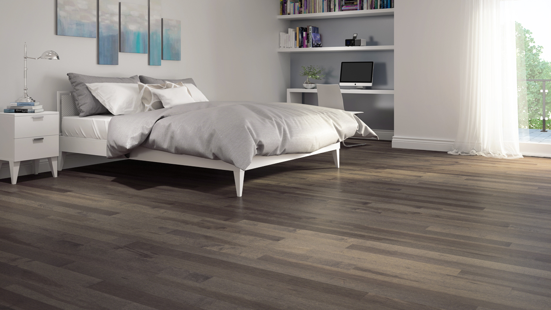 Hard maple dark grey | Dubeau hardwood floors | Bedroom decor