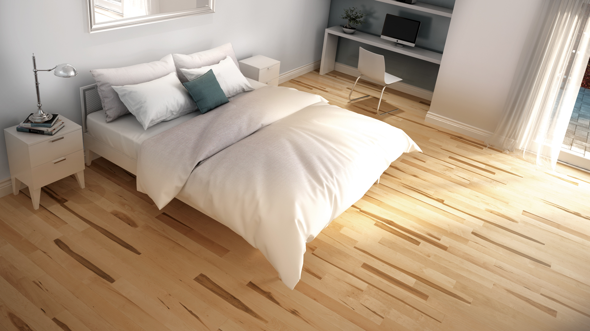 Hard maple natural | Dubeau hardwood floors | Bedroom decor
