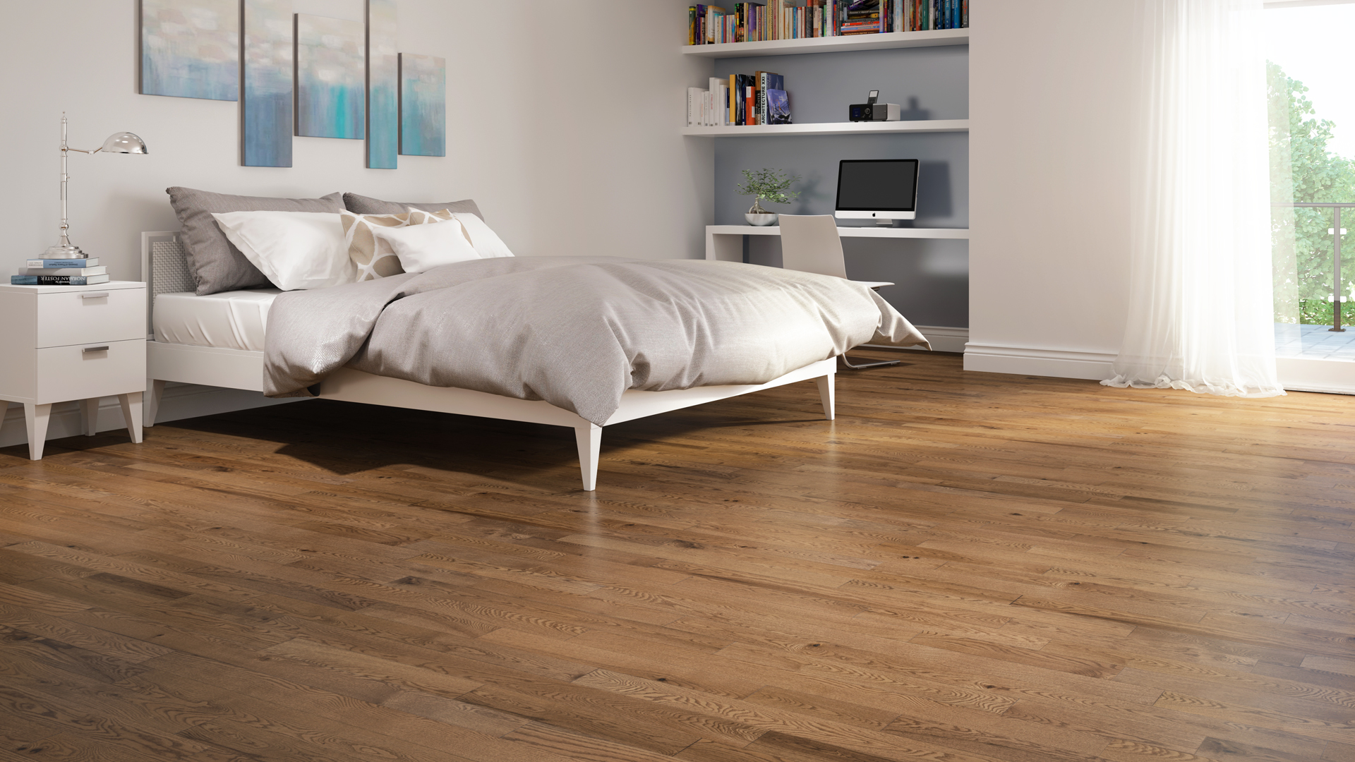 Red oak apricot | Dubeau hardwood floors | Bedroom decor