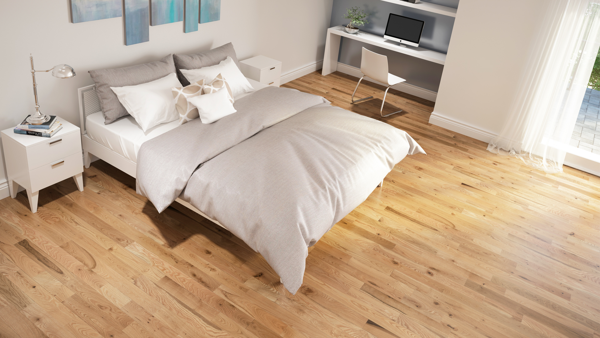 Red oak natural | Dubeau hardwood floors | Bedroom decor